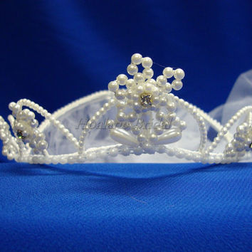 Flower Girl pearl tiara with veil