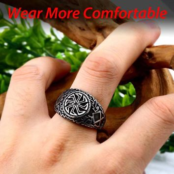 steel solider Viking Celtic solar symbol wheel ring amulet stainless steel nordic slavic pagan jewelry