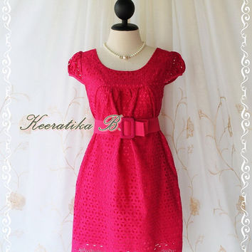 Sound Of Summer III - Sweet Lady Cotton Lace Dress Hot Pink Color Dolly Cap Sleeve Yoke Style Party Birthday Anniversary  Dress