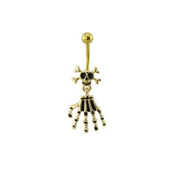 Gold Skull and Skeleton Hand Belly Ring