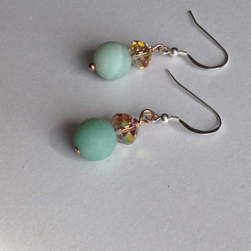 Frosted Amazonite Earrings - Frosted Blue Earrings