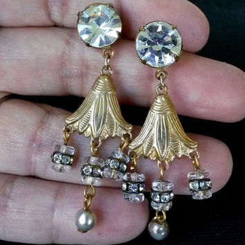 Vintage Egyptian Revival Gold Tone Crystal Bead Rhinestone Dangle Pierced Earrings OOAK Repurposed