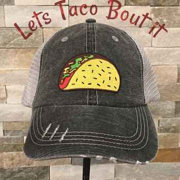 Distressed Trucker Cap ~ Taco Bout it