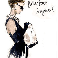 "Fashion Illustration Art Print: Audrey Hepburn, ""Breakfast Anyone?"""