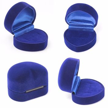 Luxury Heart Blue Velvet Carrying Foldable Case Display Jewelry Box Packaging Wedding Ring Earring Case Shellhard