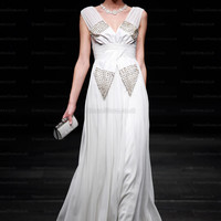 A-line V-neck Chiffon Ankle-length White Beading Evening Dress at dressestore.co.uk