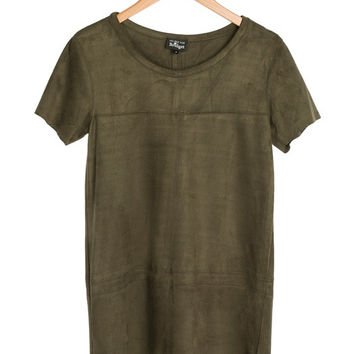 Olive Suede Shift Dress by NRFB