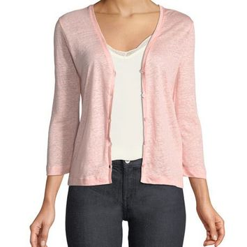 Majestic Paris for Neiman Marcus Linen Flat-Edge Cardigan Sweater