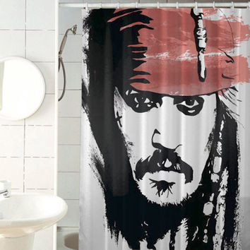 Jack Sparrow Johnny Depp Pirate of the caribbean custom shower curtain by jedingwatukali