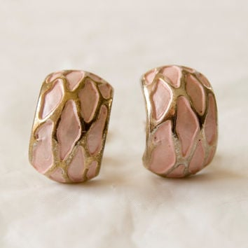 Vintage Clip On Earrings Light Pink with Gold Tone - Includes Comfort Pads