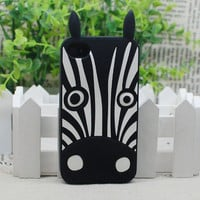 New Marc By Marc Jacobs Animal Zebra Silicone Case Cover for iPhone 4S 4 + Film