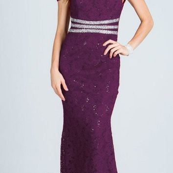 Eggplant Embellished Off Shoulder Prom Gown Fit and Flare