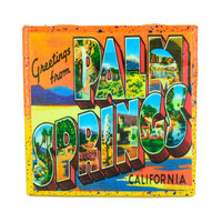 Handmade Coaster Vintage Travel - Greetings From Palm Springs Handmade Recycled Tile Coaster