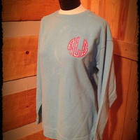 Circle appliquéd  Monogrammed Unisex Comfort Colors Sweatshirt