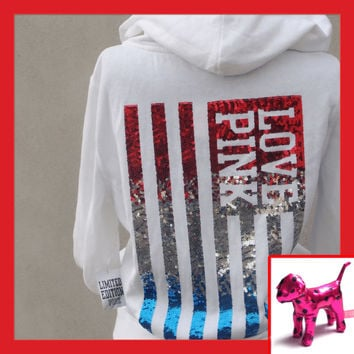 NWT Victoria Secret LOVE PINK LIMITED EDITION Sequin Flag Hoodie + Dog Size M