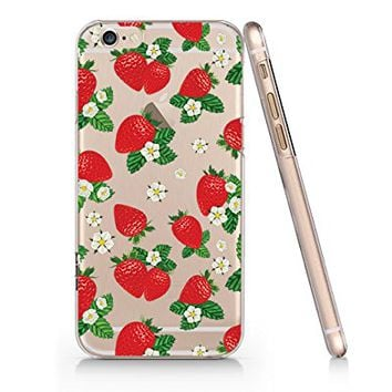 Strawberry Pattern Transparent Plastic Phone Case for iphone 6PLUS _ SUPERTRAMPshop (iphone 6 plus)