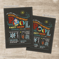 Pool Party Invitation Waterslide Pool Party Birthday Invitations, Beach Swimming Water Sports Party, Splish Splash Chalkboard Invite