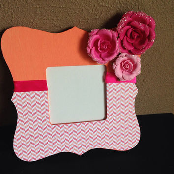 Coral and Pink Chevron Flower Picture Frame