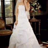 Organza Corseted Wedding Dress with Beaded Lace Style V9263, White, 10