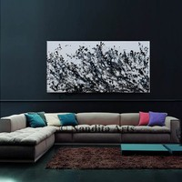 Extra large black and white minimalist painting on canvas, Abstract Art, Modern art, Extra large wall art decor by Nandita 48x24in /120x60cm