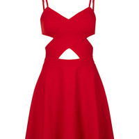 Spaghetti Strap Cutout A-Line Mini Skater Dress