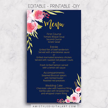 Wedding Menu, Printable Menu, Navy, DIY Menu Template, Menu Card, Menu Printable, Wedding, Custom Menu, DIY Wedding, Wedding Reception,PDF