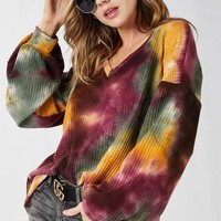 Tie Dye Thermal Waffle Knit V Neck Top w Balloon Sleeves - Plum Olive