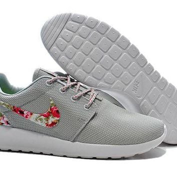 ESBON Nike Roshe Run Shoes Floral Running Shoes Gray - Ready Stock Online