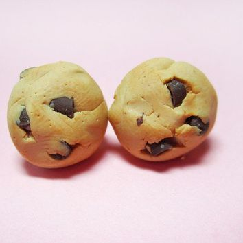 Chocolate Chip Cookie Earring Studs