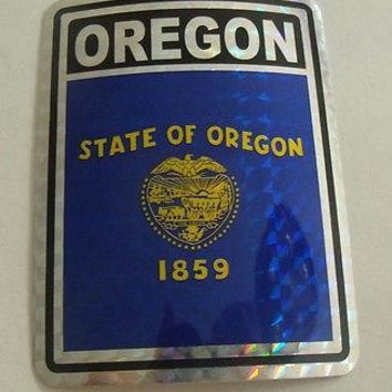 "Oregon Flag Reflective Sticker 3""x4"" Inches Adhesive Car Bumper Decal"