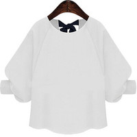 White Bow Back Bishop Sleeve Cropped Blouse