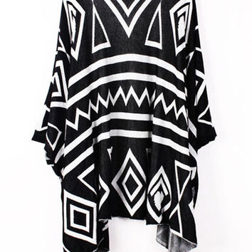Knitting Batwing Aztec Tribal Geometric Long Tricot Womens Loose Cardigan
