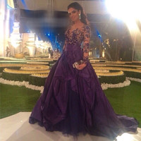 Purple Evening Dress Lace Appliques Long sleeves Scoop Long Prom Dresses Mother of the Bride Gown 2016 Formal Party Evening Gown