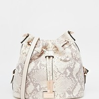Dune Dolice Grey Snake Leather Look Drawstring Duffle Across Body Bag at asos.com