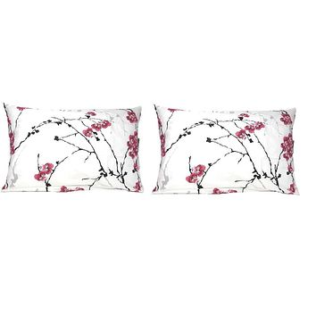 "DaDa Bedding Set of Two Cherry Blossom White Pink Pillowcases - Queen 20"" x 30"" Size - 2-PCS (8318)"