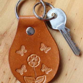 Butterfly Key Chain, Floral Keychain, Leather Key Fob, Floral Keyring, Butterfly Key Fob, Flower Keyring,Floral Key Fob,Butterflies Keychain