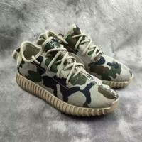 """Adidas"" Women Yeezy Boost Sneakers Running Sports Shoes SPYL-350 Camouflage GREEN"