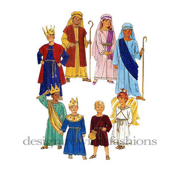 Children's Christmas Pageant Nativity Play Costumes Joseph Mary Wise Men Shepard Angel Age 4-14 Butterick 6505 UNCUT Vintage Sewing Pattern
