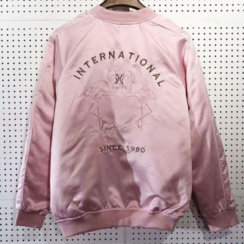 Stussy Fashion Casual Women Embroider Long Sleeve Wool Zipper Coat Pink G-MG-FSSH