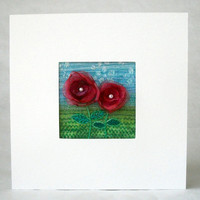 Unique handmade 5 inch square organza flower card - for framing - embroidered fabric art - textile art greeting card - wedding gift card