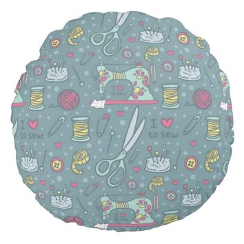 Pattern Vintage Sewing Notions Round Pillow