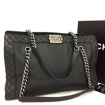 CHANEL Boy Chanel Quilted CC Logo Leather Chain Shoulder Tote Bag Black /p307