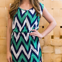 Sleeveless In Seattle Navy and Teal Chevron Dress