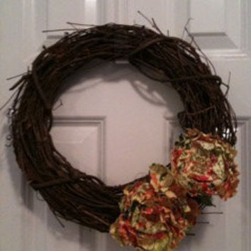SALE Grapevine wreath with paper flowers