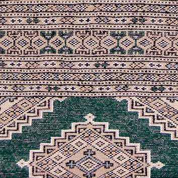 Oriental Pakistani Wool and Cotton Oriental Rug, Green/Gray