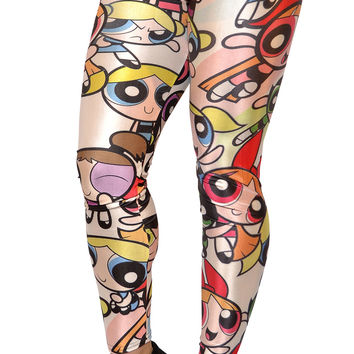 BadAssLeggings Women's Cartoon Girls Leggings Medium White
