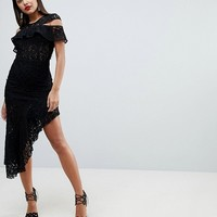 ASOS Cold Shoulder Asymmetric Corded Lace Midi Dress at asos.com