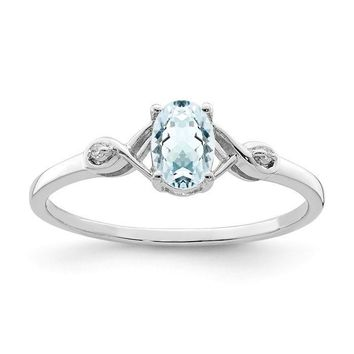 Sterling Silver Genuine Aquamarine Oval and Diamond Ring