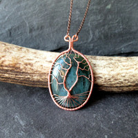 Moss Agate Tree of Life Necklace, Wire Wrap Copper Gemstone Pendant on Copper Chain, Pagan Viking Wicca Norse Yggdrasil Kabbalah UK made