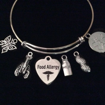 Medical Alert Food Allergy Expandable Charm Bracelet Silver Adjustable Bangle Gift Jewelry Shellfish, Milk, Peanuts